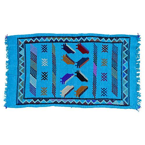 """Moroccan Silk Kilim, 3'2"""" x 1'8"""""""