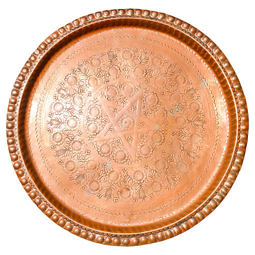 Moroccan Engraved Copper Tray