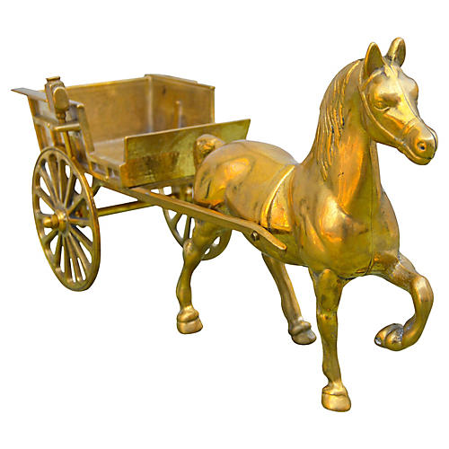 Handmade Moroccan Brass Horse & Carriage