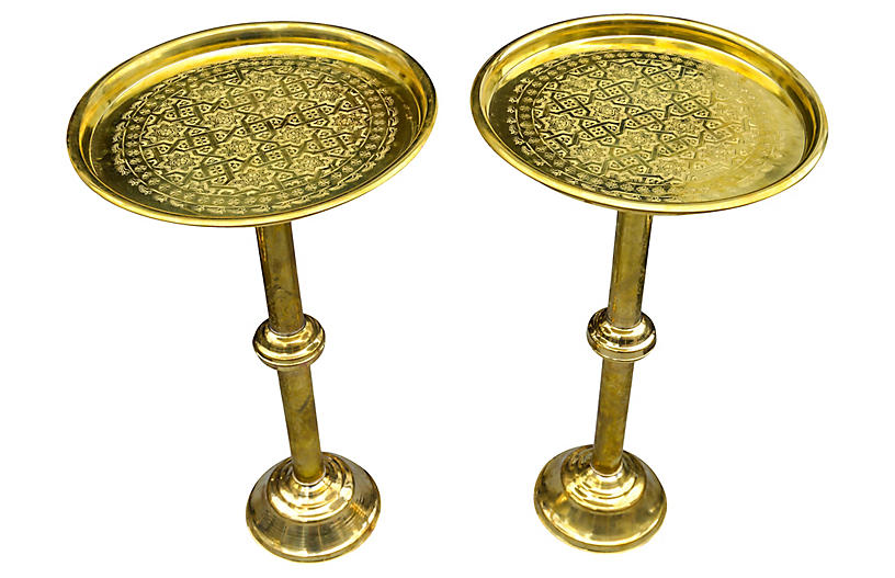 Moroccan Brass Tables w/ Engravings, S/2