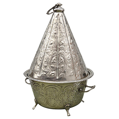 Silver Engraved Moroccan Bowl w/ Lid