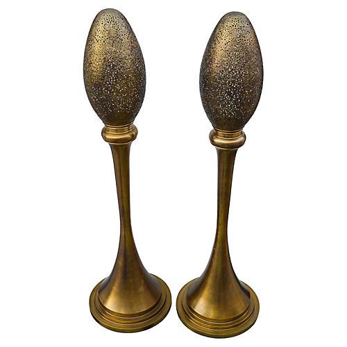 Handmade Moroccan Brass Lamps, 2Pcs