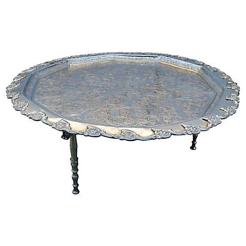 Moroccan Silver Tray w/ Engravings