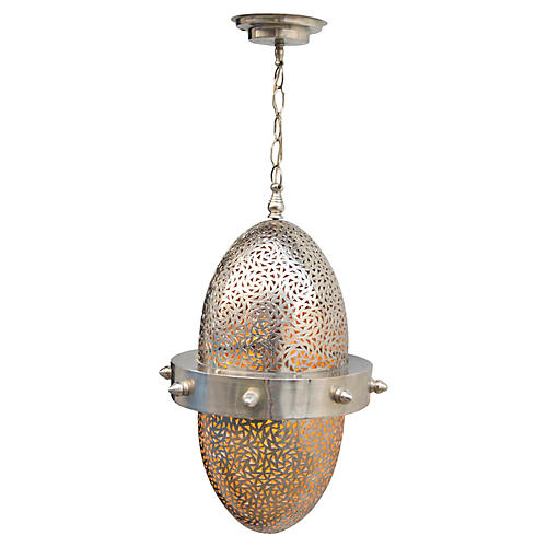 Silver Engraved Moroccan Ceiling Lantern