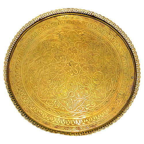 Moroccan Engraved Brass Tray