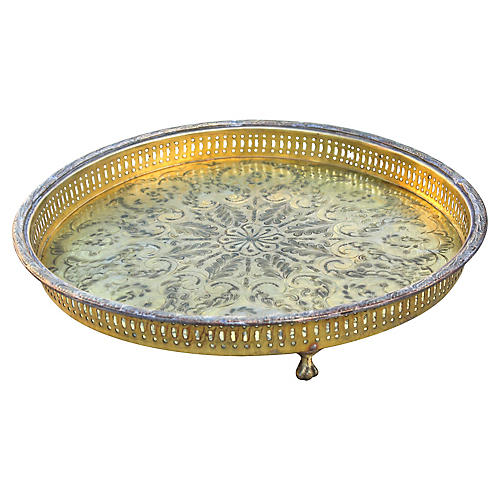 Moroccan Footed Brass Tray