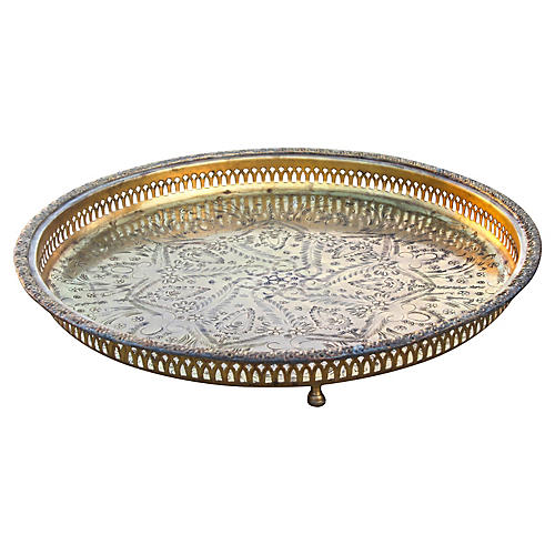 Hand-Engraved Moroccan Brass Tray