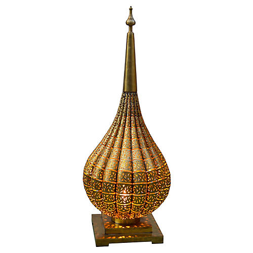 Moroccan Brass Lamp w/ Moorish Design