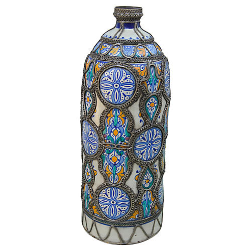 Moroccan Vase w/ Moorish Pattern & Inlay