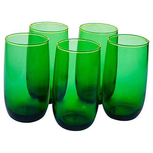 Mid-Century Green Glasses, S/5
