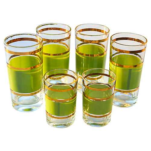 Gold-Banded Green Glasses, S/6