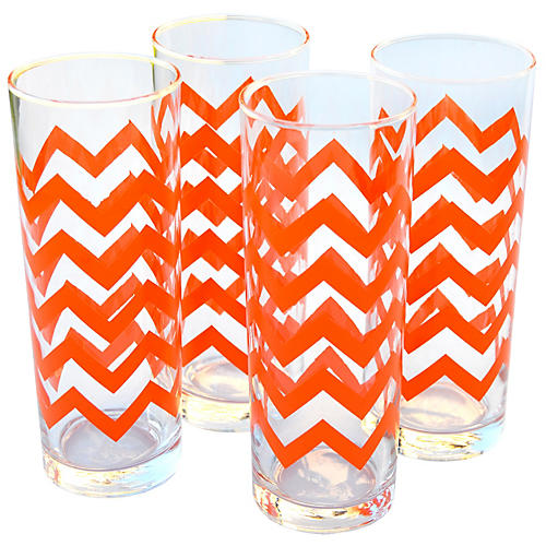 Orange Pattern Tumblers, S/4