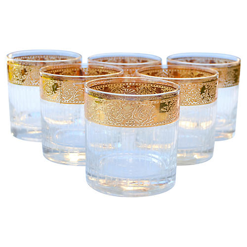 Gold-Banded Glasses w/ Itchings, S/6