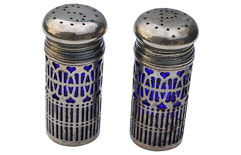 Blue Glass Salt & Pepper Shakers