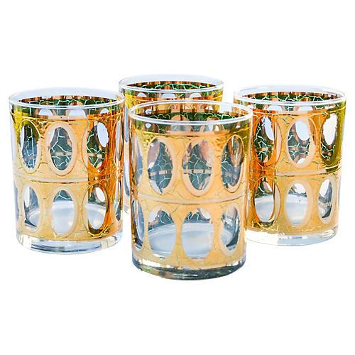 Gold & Green Rocks Glasses, S/4