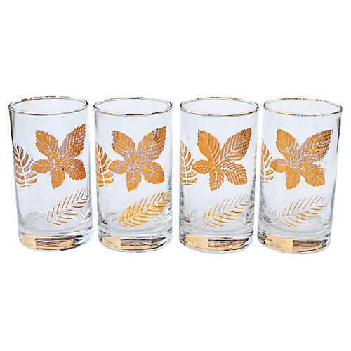 Midcentury Glasses w/ Leaf-Pattern, S/4
