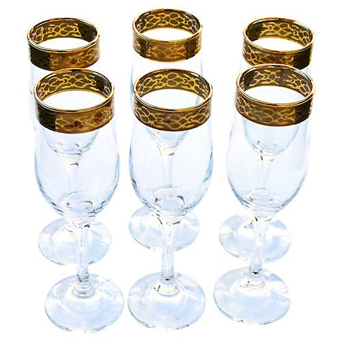 Champagne Glasses, S/6