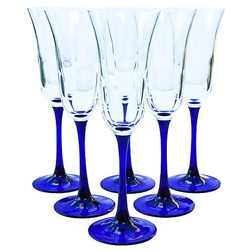 Blue Stem Champagne Glasses, S/6