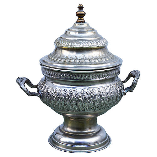 Silver Engraved Moroccan Urn w/ Handles