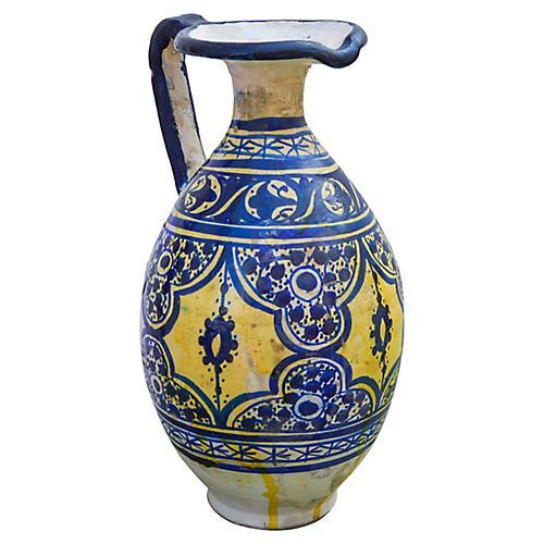 Blue Moorish-Patterned Ceramic Pitcher