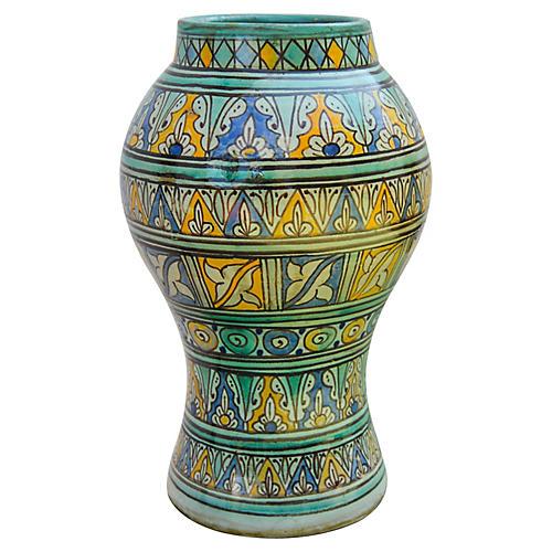 Moroccan Ceramic Vase w/ Fine Motif