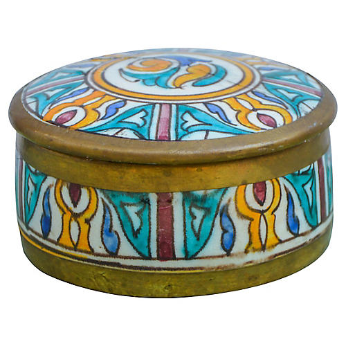 Handmade Moorish Box w/ Brass Inlay
