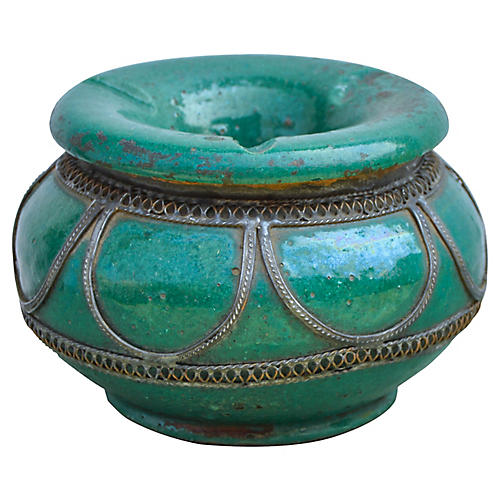Antique Moroccan Ceramic Ashtray