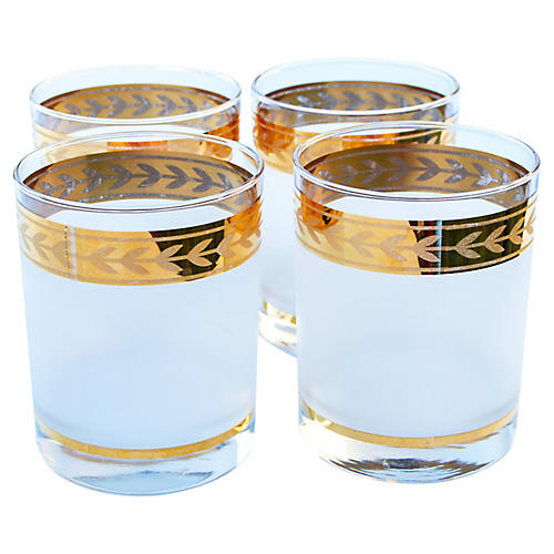 Gold-Banded & Frosted Glasses, S/4