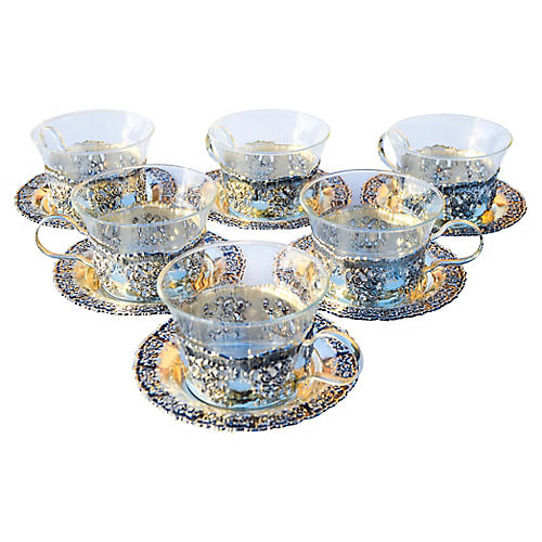 Silver & Glass Teacups, S/6