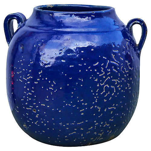 Blue Moroccan Ceramic Vase w/ Handles