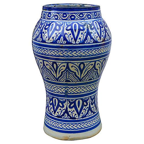 Blue Moorish-Patterned Ceramic Vase