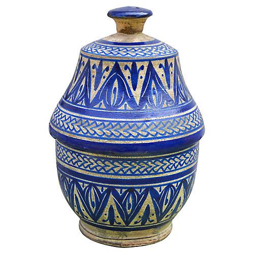 Blue Moorish Lidded Bowl