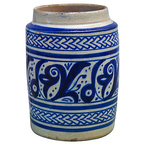 Moroccan Ceramic Vase w/ Blue Motif
