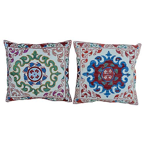 Handwoven Silk Pillows, Pair