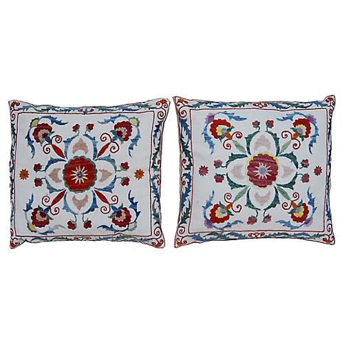 Tribal Silk Pillows, Pair