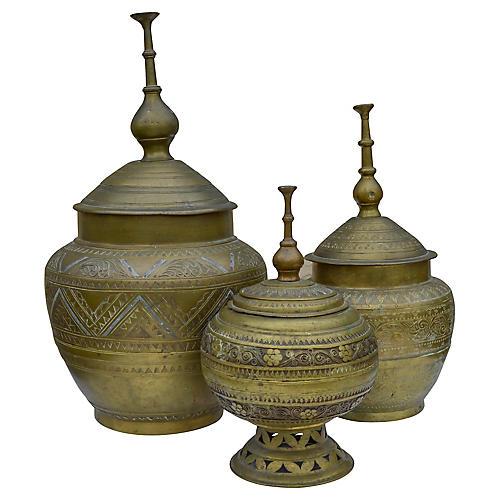 Antique Moroccan Brass Urns, S/3