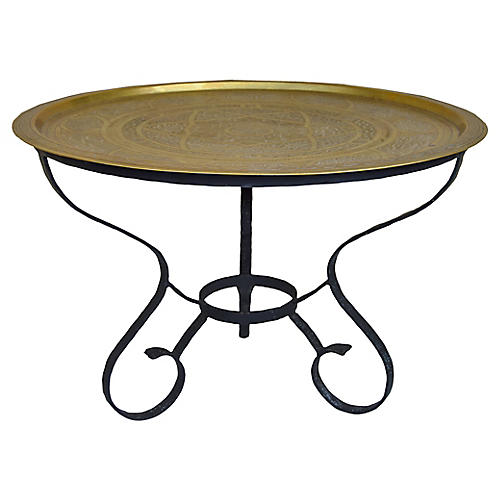 Moroccan Engraved Brass Tray Table