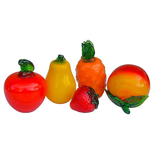 Murano Glass Fruit, S/5