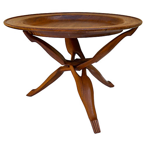 Handcarved Rosewood Tray-Top Table