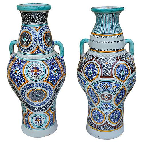 Ornate Moorish-Patterned Vases, S/2