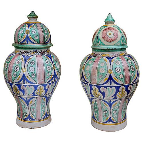Antique Andalusian Ceramic Vases, S/2