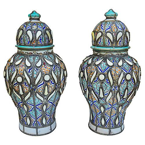 Moorish Vases w/ Fine Motif & Inlay, S/2