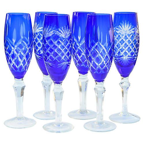 Blue Cut-Crystal Flutes, S/6