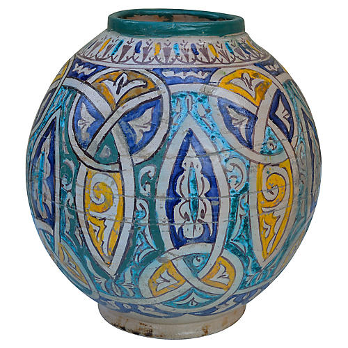 Polychrome Vase w/ Fine Moorish Motif