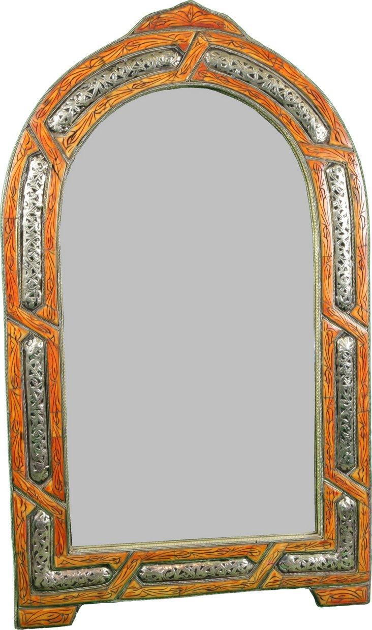 Moroccan Orange Bone Inlay Mirror