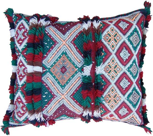 Moroccan Red & Green Diamonds Sham