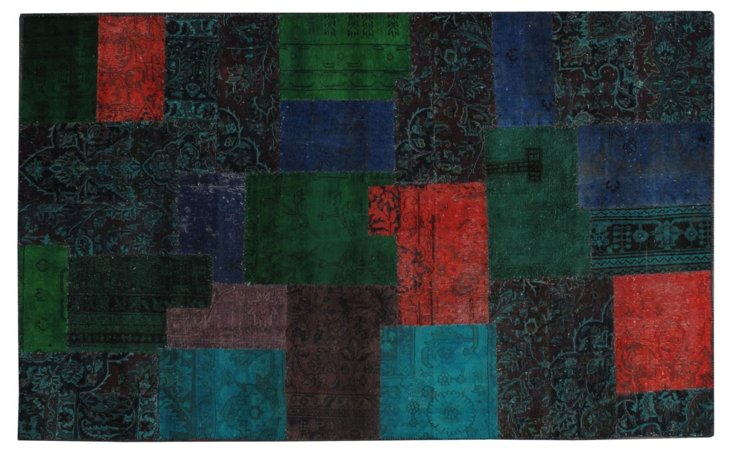 """Overdyed Patchwork Rug, 5' x 8'3"""""""