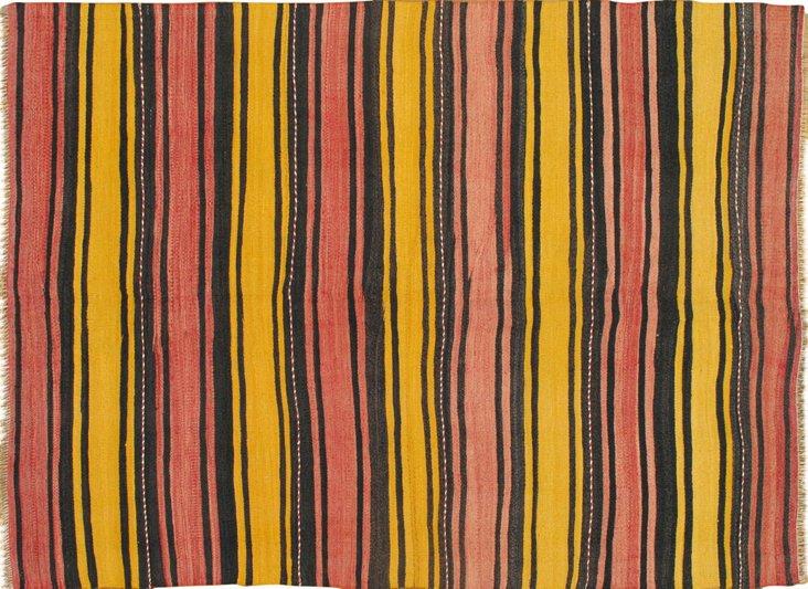 """Striped Kilim, 5'2"""" x 7'"""