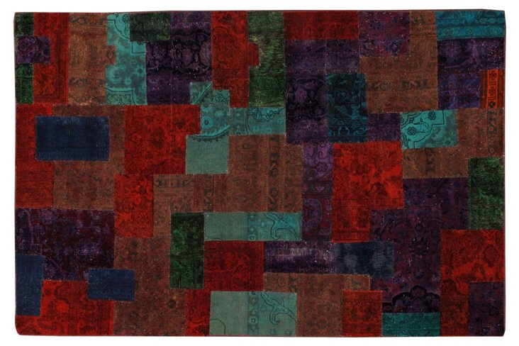 "Overdyed Patchwork Rug, 6'1"" x 9'1"""