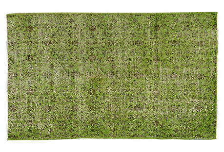 Green Overdyed Rug, 3'11'' x 6'6''